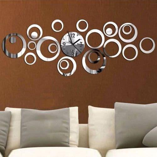 Grand Horloge Quartz Murale Acrylique Miroir Créative Stylé Décoration Argent