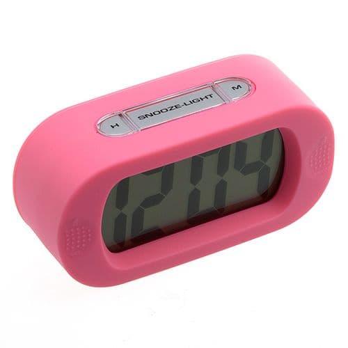 Horloge Alarme Réveil Digital Snooze LED Rétro-Eclairé Caoutchouc Silicone_PK