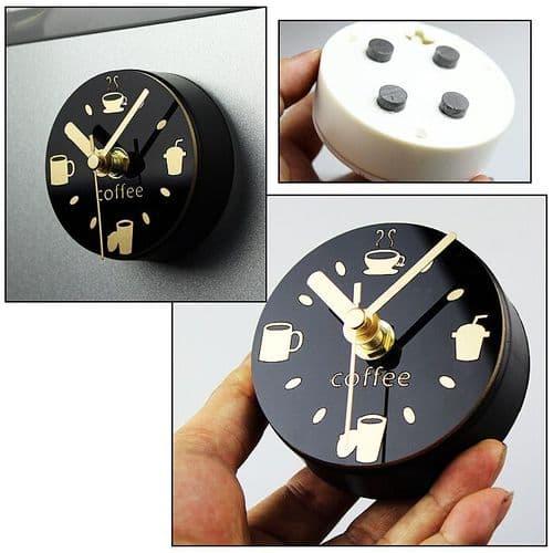 """Horloge Diamètre 3"""" Magnétique Quartz Décorative Café Cuisine Réfrigérateur"""