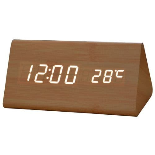 Horloge Digitale Bureau Alarme LED Affichage Thermomètre USB et Pile  BR