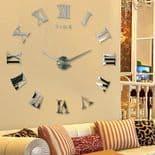 Horloge Murale Personnalisable Quartz Moderne Décoration Stylé en Métal