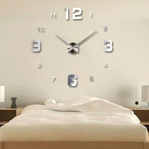Horloge Murale Quartz Art Style Acrylique Miroir Autocollants Décoration