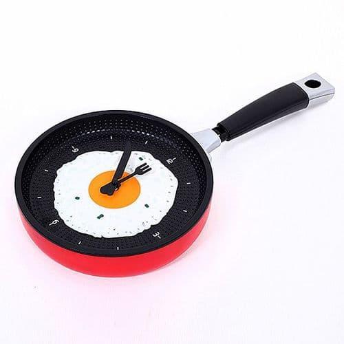 Horloge Murale Quartz en forme de Poêle Décoration Cuisine Maison RD