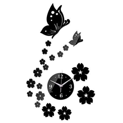 Horloge Quartz Murale Moderne Acrylique Créative Décoration Papillon Fleur
