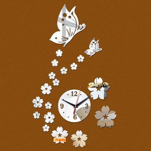Horloge Quartz Murale Moderne Acrylique Miroir Créative Décoration Papillon