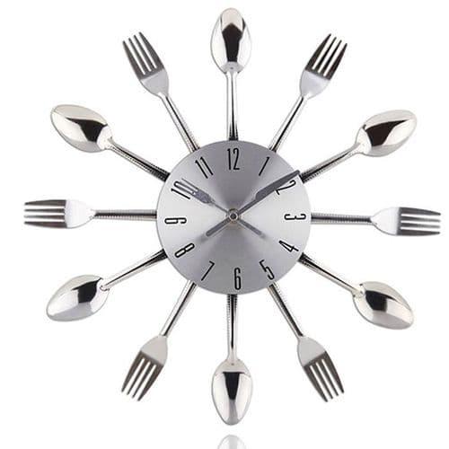Horloge Quartz Murale Moderne Vaisselle Fourchette Cuillère Décoration