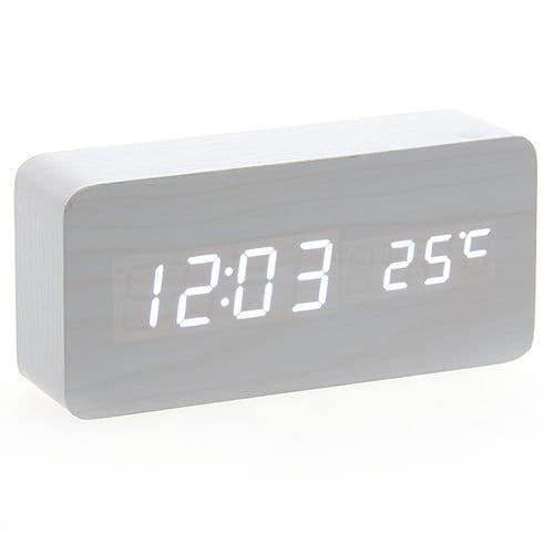 Horloge Réveil Alarme Digital LED en Bois Imitation Thermomètre Température USB AAA 115
