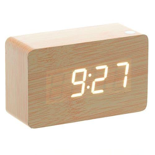 Horloge Réveil Alarme Digital LED en Bois Imitation Thermomètre Température USB AAA BR