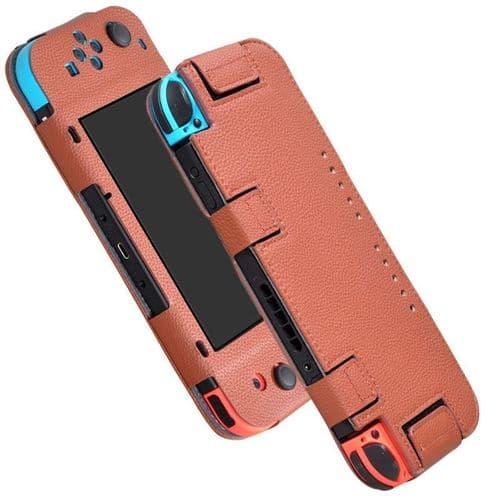 Housse de Protection Etui pour Console de jeux Nintendo Switch PU Cuir BR