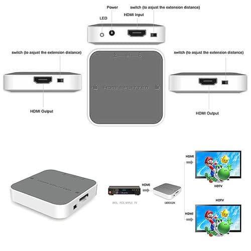 LKV312N 1x2 HDMI Amplificateur de Signal et Connecteur Séparateur Adaptateur