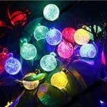 Lampe Guirlande 30 LED Lumière Décoration Cordon 6m Solaire Boules Cristal