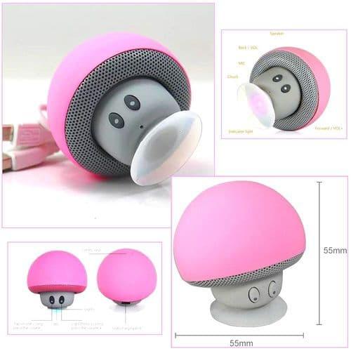 Mini Enceinte Bluetooth Sans fil Mushroom Champignon Ventouse Rose