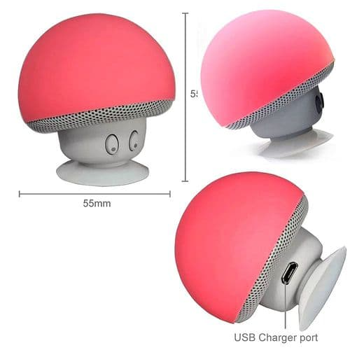 Mini Enceinte Bluetooth Sans fil Mushroom Champignon Ventouse Rouge