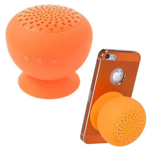 Mini Enceinte Bluetooth Sans fil Portable Étanche Douche Ventouse Support Orange