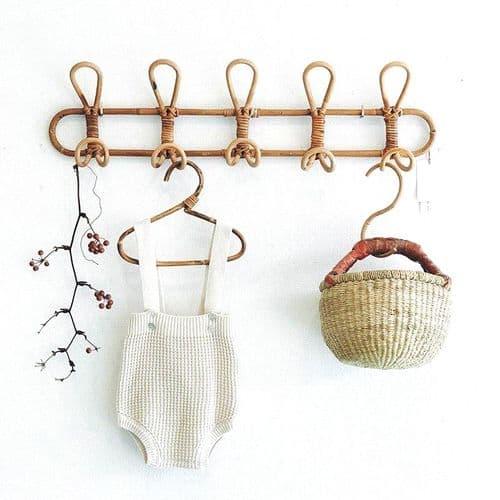 Porte Manteau Mural En Rotin Crochet Vêtements Chapeau Serviettes 5 Crochets