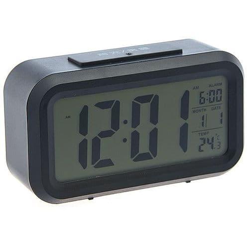 Réveil Alarme Grand Écran Digital LCD Date Heure Température Calendrier BK