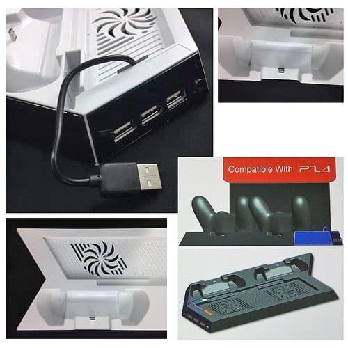 Station Dock de Recharge Manette Support Pied USB HUB Ventilateur Console PS4