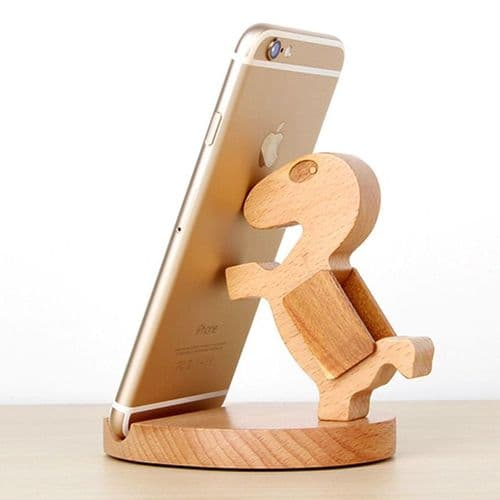 Support Universel Bois Naturel Cheval Pied pour Smartphone iPhone 6 6S