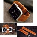 Vintage Cuir Bracelet de montre avec connecteurs pour Apple Watch 42mm 44mm