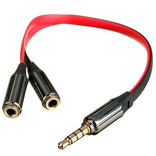 Adaptateur 3.5mm Mini-Jack Câble Diviseur 1 Mâle à 2 Femelle Audio 4 Points