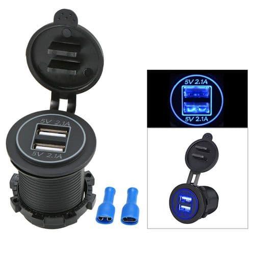 Adaptateur Alimentation Chargeur Prise Port 2.1A Double USB Pour Moto Bateau
