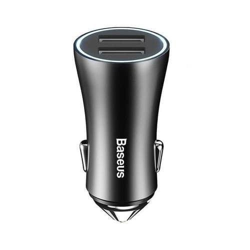 Adaptateur Allume-Cigare Double Chargeur Batterie USB LED pour Smartphone BK