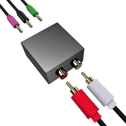 Adaptateur Audio 5.1 Convertisseur Entrée Rca 3 Sorties Stéréo Mini-Jack 3,5 Mm