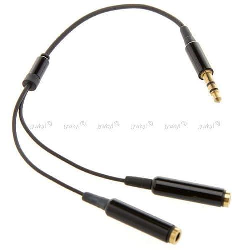 Adaptateur Câble Doubleur Répartiteur Ecouteurs Mini-jack 3,5mm 1 Mâle-2 Femelle