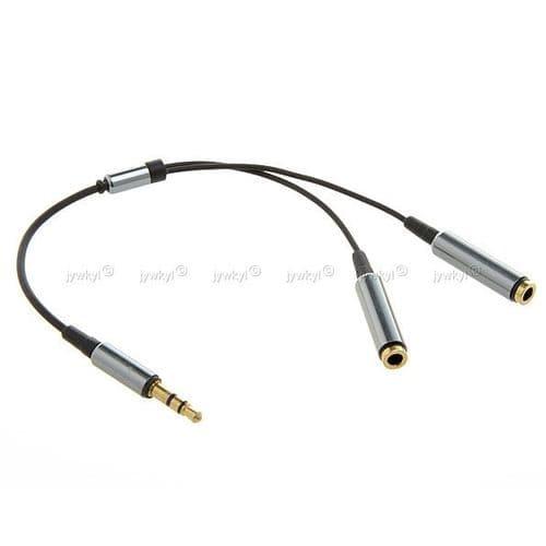 Adaptateur Câble Ecouteurs Doubleur Répartiteur Mini-jack 3,5mm 1 Mâle-2 Femelle
