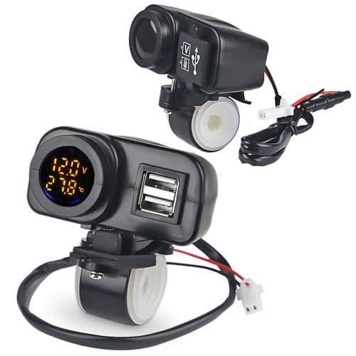 Adaptateur De Chargeur Double Usb Moto Voltmètr Thermomètre Étanche 5V 4.2A