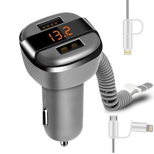 Adaptateur Dual USB Chargeur Voiture Avec Câble Micro USB Et 8 Broches Voltmètre