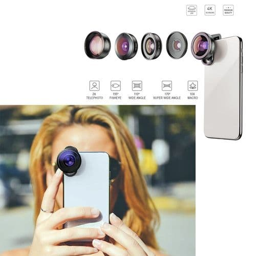 Apexel 5X Objectif Smartphone Mobile Photo Fish Eye Grand Angle Macro Télé