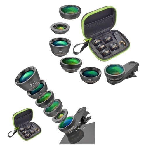 Apexel 6X Objectif Smartphone Fish Eye Grand Angle Macro Télé Cpl Filtre Étoile