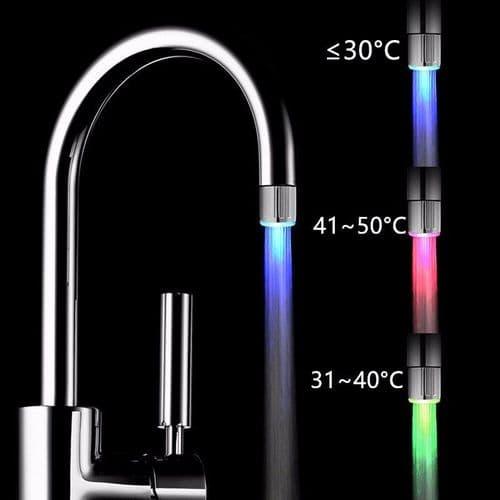 Bassin Robinet lavabo Capteur de Température Contrôle LED Couleur Lumière
