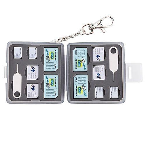 Boîtier Caisson Carte Mémoire Flash Protection Etanche SIM Micro SIM Nano Noir