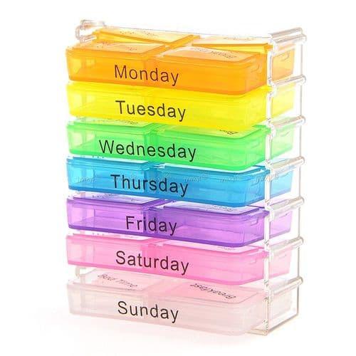 Boite Casier Coffret de Rangement Pilules 7 tiroirs 7 Jours Pilules Médicament