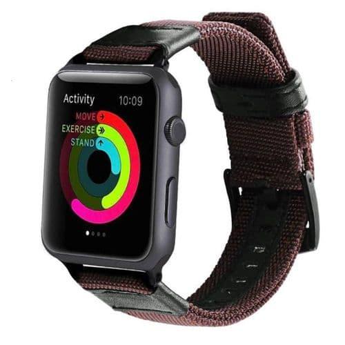 Bracelet Bande Tissu Nylon Pour Apple Watch Pour Modèle 42Mm 44Mm_Marron