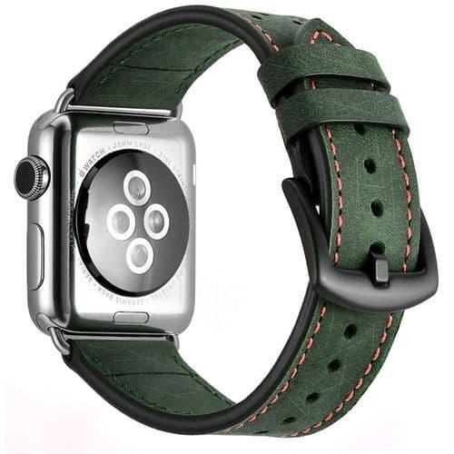 Bracelet En Cuir De Veau Pour Apple Watch Pour Modèle 38Mm 40Mm_Vert