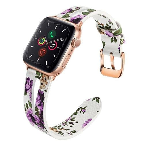 Bracelet En Cuir Véritable Pour Apple Watch Modèle 38Mm 40Mm_Fleurs Blanc