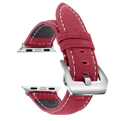 Bracelet En Cuir Vintage Pour Apple Watch Pour Modèle 38Mm 40Mm_Rouge