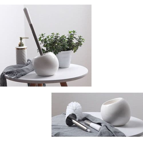 Brosse De Nettoyage Pour Toilette Avec Base En Céramique Manche Acier Inoxydable