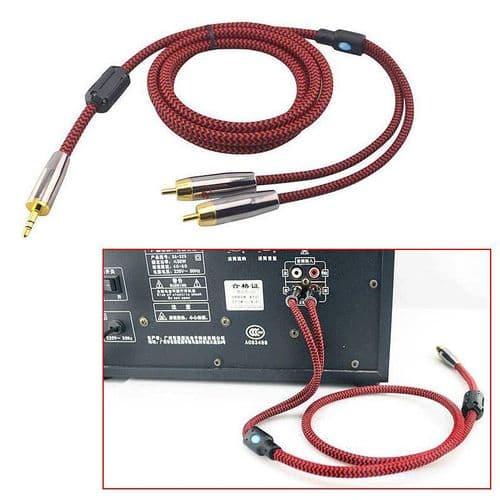 Câble Audio Stéréo 3.5mm Mini-Jack Mâle A 2x RCA Mâle Auxiliaire Plaqué Or 2M