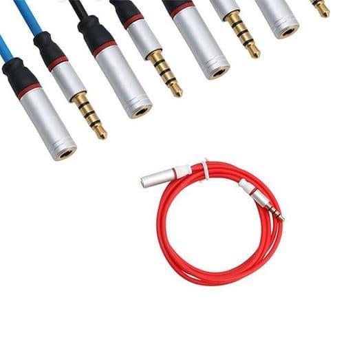 Câble Rallonge 3.5mm Mini-jack 4 Points Mâle Vers Femelle Audio Extension Rouge