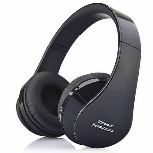 Casque Arceau Pliable Sans fil Bluetooth Prise 3,5mm Mini-jack Audio Microphone BK