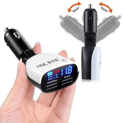 Chargeur Double USB 5V 3.4A Allume-Cigare Voiture 12V Digital Niveau Batterie