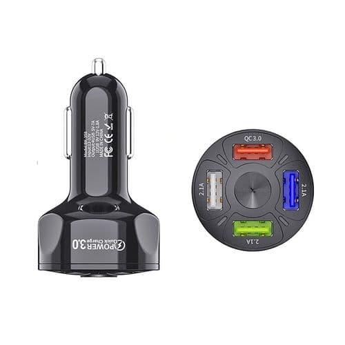 Chargeur Smartphone Rapide Usb 4 Ports De Voiture 48W 7A Prise Allume-Cigare