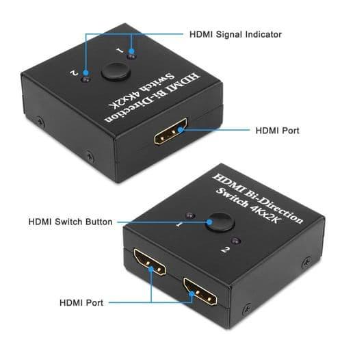 Commutateur Hdmi 2 Ports Bidirectionnel 2X1 / 1X2 Répartiteur Hdcp Uhd 4K