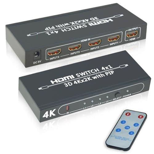 Commutateur Hdmi 4X4 4 Ports Ultra Hd 4K Hdmi 1.4 Contrôle Ir 4 Entrées Sorties