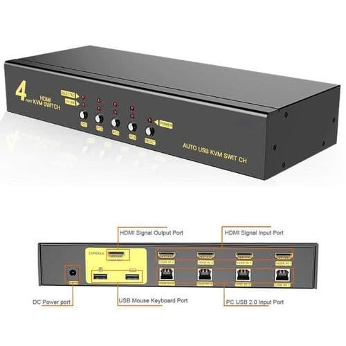 Commutateur Kvm Usb 2.0 Sélecteur Kvm Hdmi Usb Control À 4 Ports Hdmi 4X1