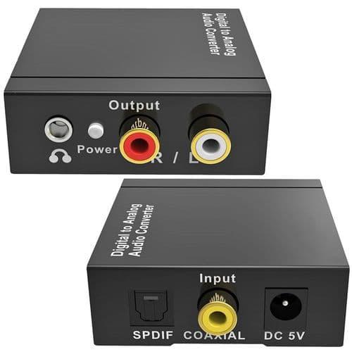 Convertisseur Audio Numérique / Analogique Toslink Optical Coax À Rca 3.5Mm Aux